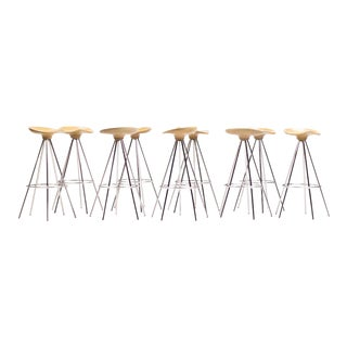 """Jamaica"" Bar Stools by Pepe Cortés with Solid Beech Seats"