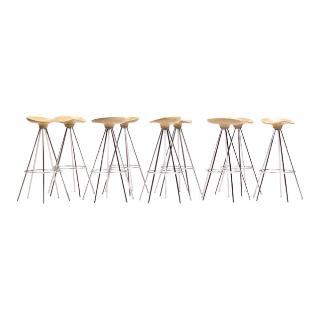 """Jamaica"" Bar Stools by Pepe Cortés with Solid Beech Seats For Sale"