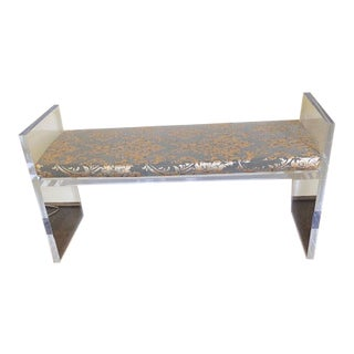 ModShop Acrylic Bench With Fortuny Style Cushion For Sale