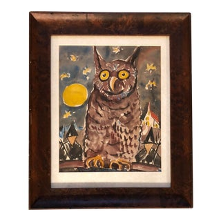 Original Vintage Fun Owl Night Watercolor Painting For Sale