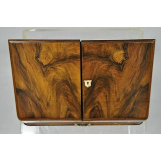 English Edwardian Burl Walnut Mahogany Brass Stationary Writing Desk Letter Box Preview