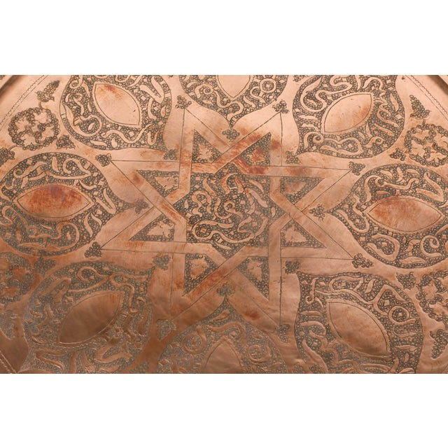Early 20th Century 20th Century Moroccan Round Copper Tray Table on Iron Base For Sale - Image 5 of 7