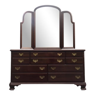 Ethan Allen Georgian Court Triple Dresser & Mirror For Sale