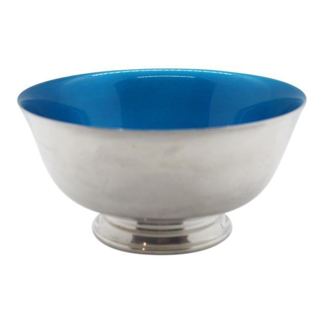 1960's Reed & Barton Silver Plated Candy Dish With Peacock Blue Enamel For Sale