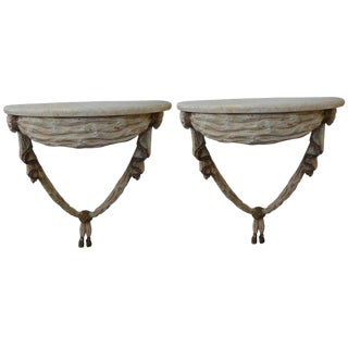 1920s Italian Neoclassical Style Painted and Gilt Wood Console Tables - a Pair For Sale