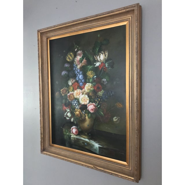Late 20th Century Late 20th Century Nancy Lee Floral Still Life Oil on Canvas Painting For Sale - Image 5 of 11