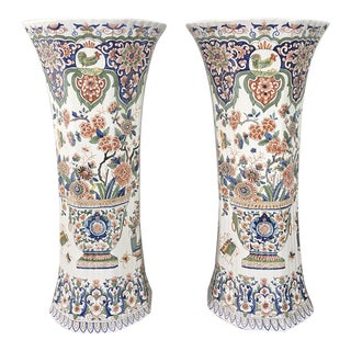 "Grand Pair 19th Century Hand Painted Delft Vases - 21""h For Sale"