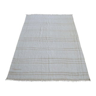 Vintage Rug Natural Stripe Turkish Sisal Hemp Kilim Rug - 4′6″ × 6′7″ For Sale