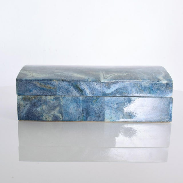 "For your pleasure: Vintage Modern Stingray Leather Blue Lacquered Jewelry Keepsake Box Dimensions: 8 1/2"" x 5"" D x 3"" H..."