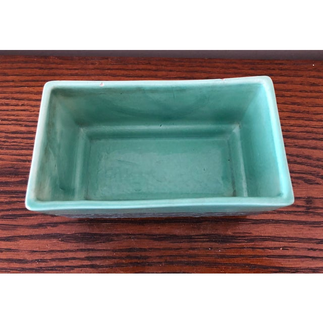 Boho Chic Final Markdown! Vintage Mid-Century Aborn H-1 California Green and Gray Pottery Planter For Sale - Image 3 of 8