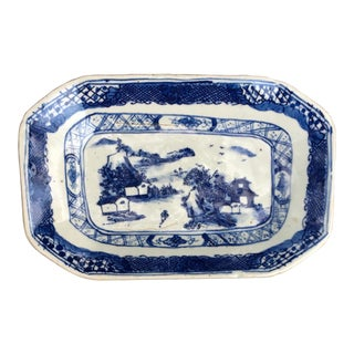 Blue & White Chinese Stoneware Platter For Sale