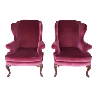 SHERRILL Chippendale Style Wing Back Arm Chairs - A Pair