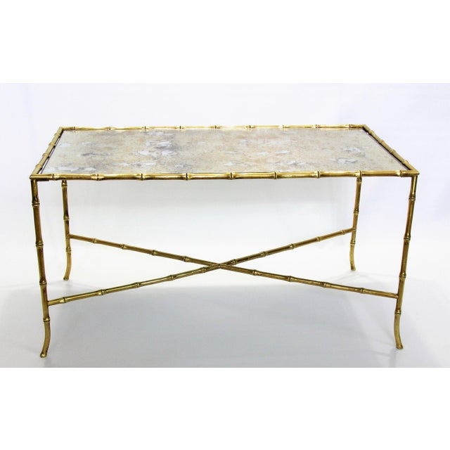 Maison Bagues French Brass Bamboo Coffee Table - Image 5 of 11