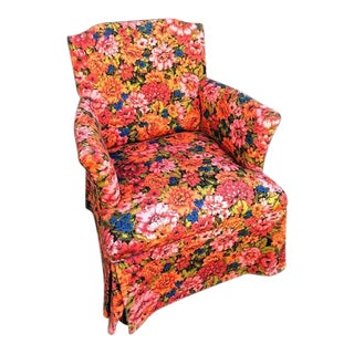 1950s-60s Hot Pink Floral Upholstered Chair For Sale