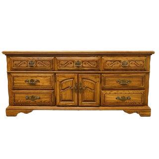 "20th Century Traditional American Drew 72"" Triple Door Dresser For Sale"
