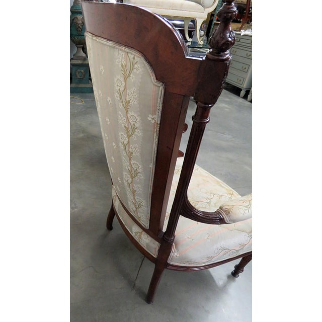 Wood Louis XVI Style Companion Armchairs - a Pair For Sale - Image 7 of 8