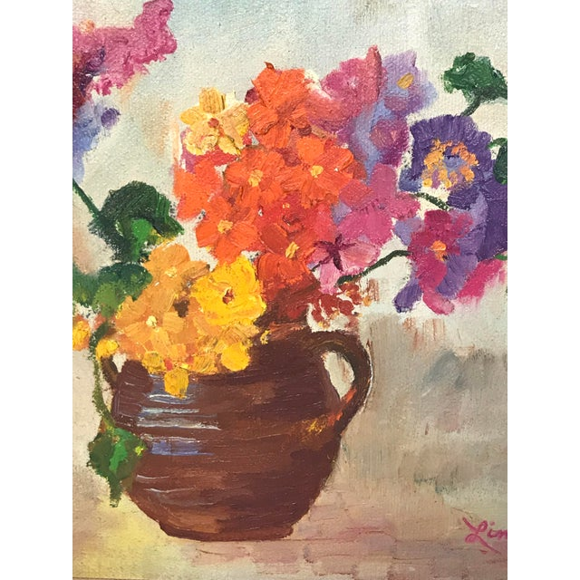 1970s Vintage Flower Still Life Oil on Canvas Painting For Sale - Image 9 of 11