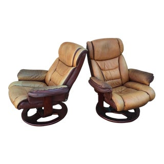 Ergonomic Distressed Leather Recliner Chairs - A Pair