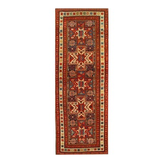 Navy Blue Antique Russian Kazak 3'5'' X 9'8'' For Sale