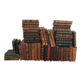 Antique Vintage Leather Books - Set of 50 For Sale