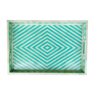 Green Geometric Bone Inlay Serving Tray For Sale