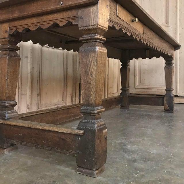19th Century Rustic Oak Desk ~ Farm Table For Sale In Dallas - Image 6 of 13