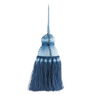 Pyar & Co. Trellis Home Tassel, Sky Blue and Navy, Medium For Sale