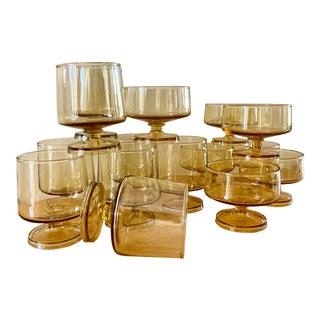 Amber Toned Stemware Cocktail Glasses, Set of 15 For Sale