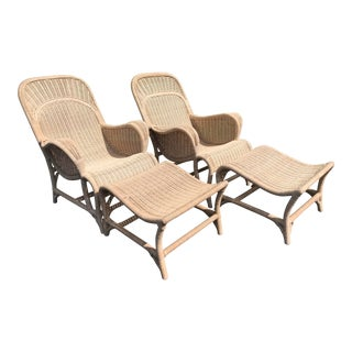 Vintage Coastal Wicker Sling Back Chairs and Ottomans-A Pair For Sale