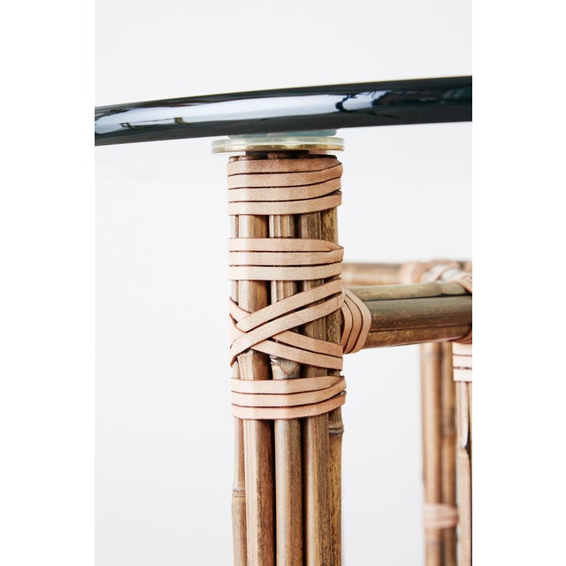 McGuire Organic Modern Bamboo Rattan Dining Table For Sale In San Francisco - Image 6 of 13