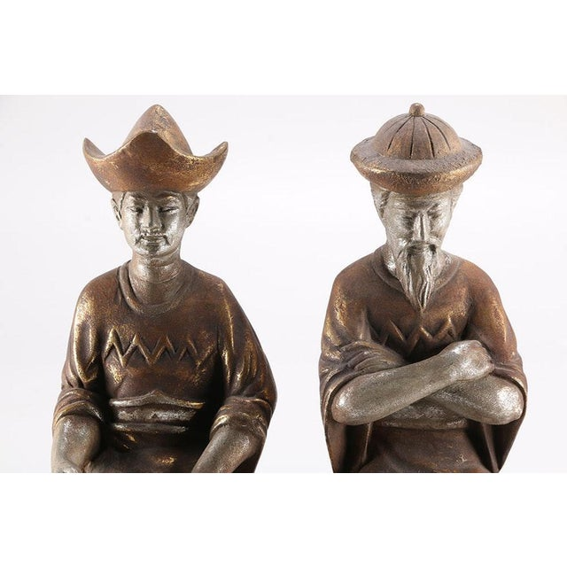 Vintage Stately Tall Asian Men Shelf Sitting Statue Figurines - a Pair For Sale - Image 4 of 6