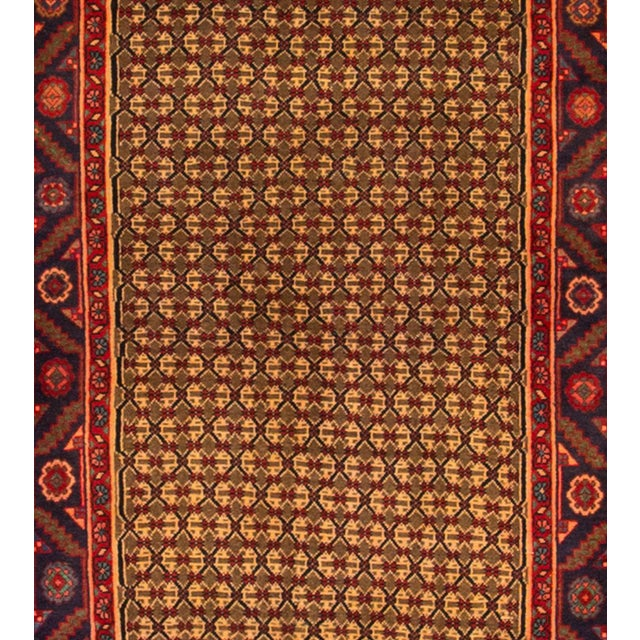 Vintage hand-knotted Persian Hamadan rug with an allover desig. Material: wool