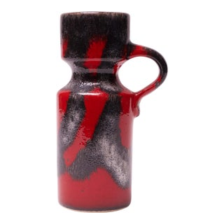 Mid-Century West German Volcanic-Textured Ceramic Vase in Red and Metallic Gray For Sale