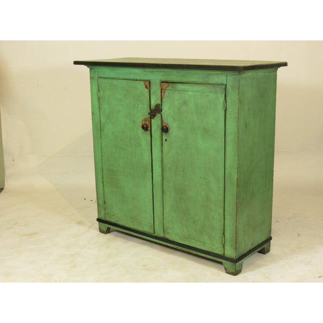 Americana 19th C. American Green Painted Cupboard For Sale - Image 3 of 12