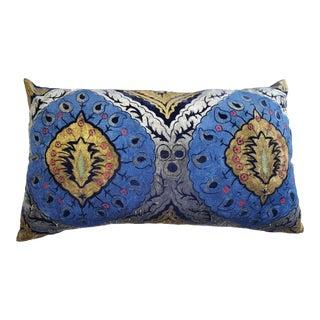 Peacock Italian Silk Velvet Pillow For Sale