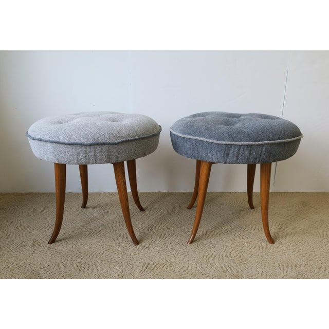 Blue Pair of Austrian Blue Upholstered Stools After Josef Frank For Sale - Image 8 of 13
