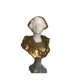 French Art Nouveau Bust of a Young Woman Marble and Bronze Statue Sculpture 19th C For Sale