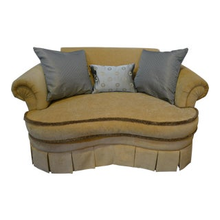 Curved French Style Skirted Loveseat For Sale