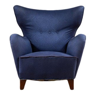 1940s Lassen Tired Man-Style Large Easy Chair Danish Mid-Century For Sale