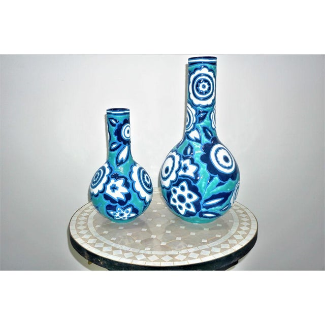 Italian Bold Blue & White Vases - A Pair For Sale - Image 5 of 6