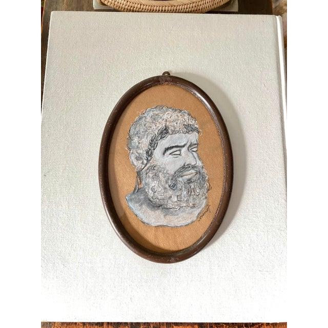 Vintage Original Memo Faraj Hercules Bust Sketch Painting For Sale - Image 9 of 9
