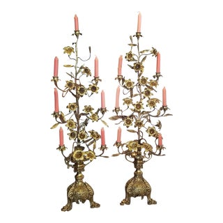 19c Pair of French Solid Brass Floor Candelabras