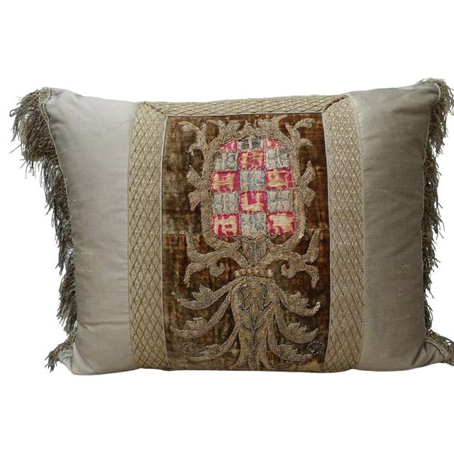 19th Century French Crest Pillow For Sale