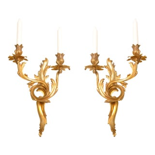 Louis XV Style Bronze Ormolu Candelabra - a Pair For Sale