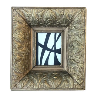 Abstract Black & White Painting Antique Gesso Gilded Frame For Sale