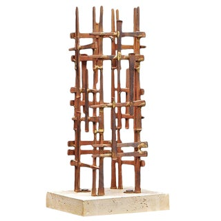 Mid-Century Skyscraper Iron Spike Masonry Nail Tower Sculpture For Sale