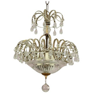 1940s Vintage Italian Crystal Beaded Chandelier For Sale