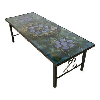 Juliette Belarti 1960s Wrought Iron Ceramic Tile Side Coffee Table For Sale