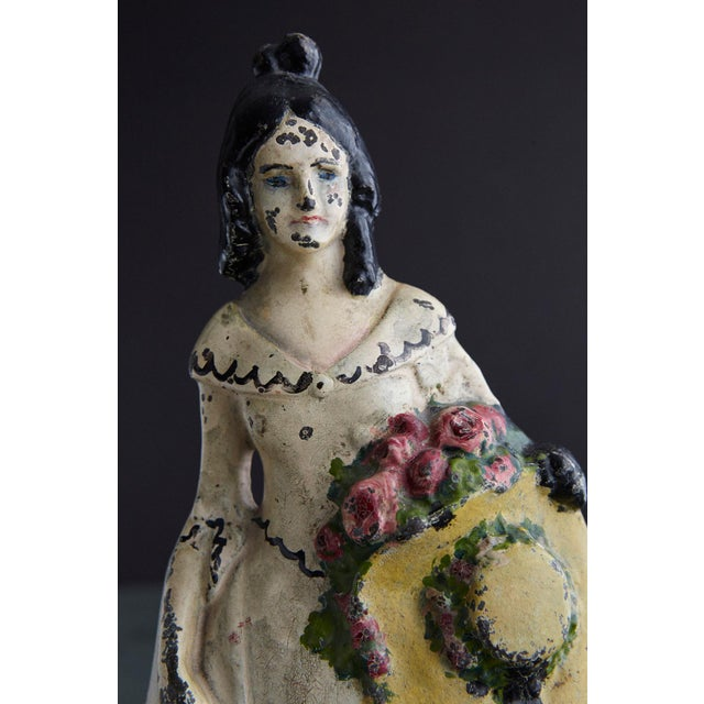 Antique White 19th Century Cast Iron Hand Painted Polychrome Woman With Straw Hat Doorstop For Sale - Image 8 of 9
