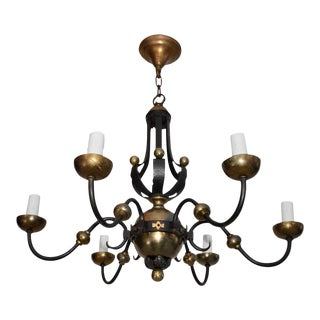 French 1940s Wrought Iron Chandelier Attributed to Gilbert Poillerat For Sale